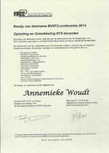 Certificaat BVNT2-conferentie 2014